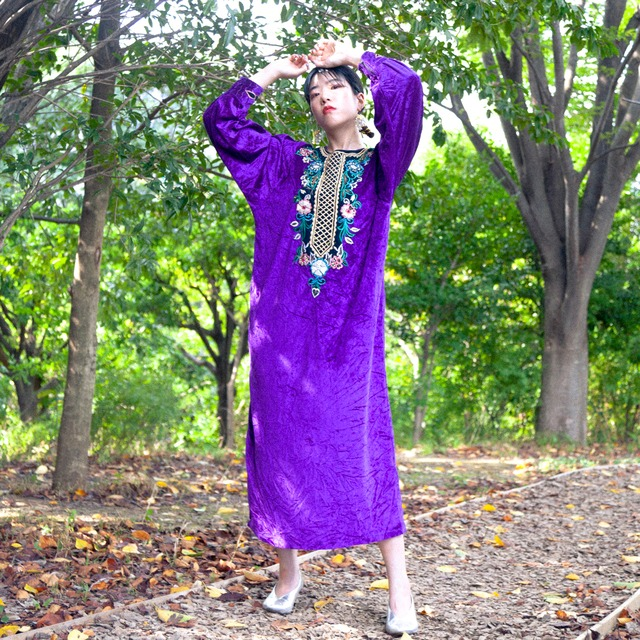 Pink × green ethnic onepiece
