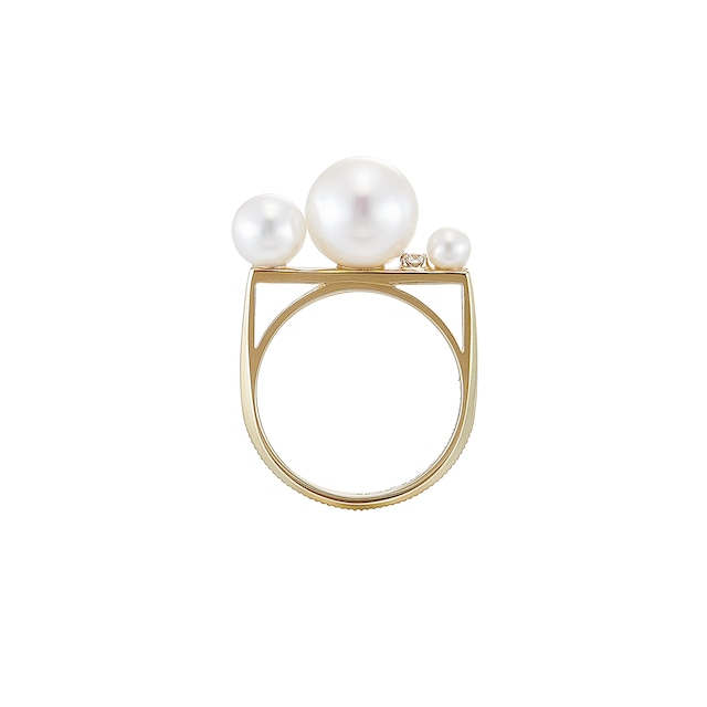K18 Three Pearls and a Diamond Deco Ring