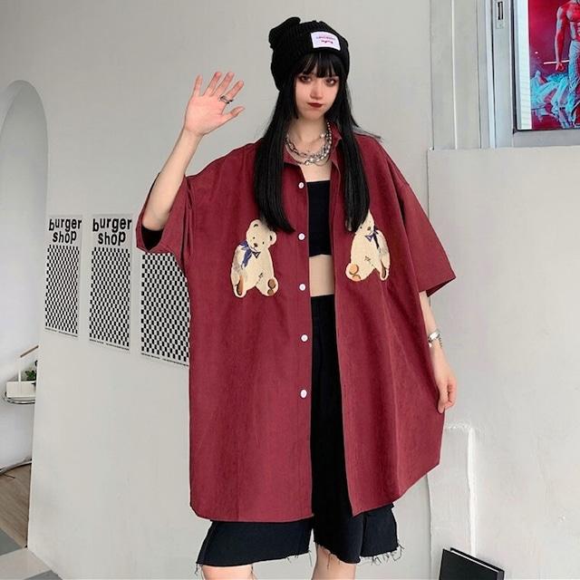 【トップス】オーバーサイズストリート系男女兼用無地半袖明るいシャツ43842135