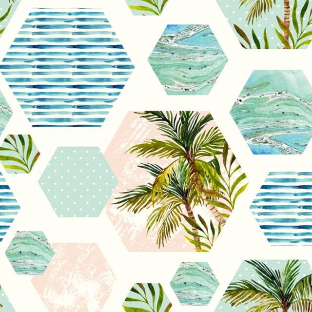 2021秋冬【Daisy】バラ売り2枚 ランチサイズ ペーパーナプキン Palms in Hexagons with Blue Background ホワイト