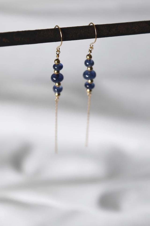 K18 Blue Sapphire Chain Earrings 18金ブルーサファイアチェーンピアス/イヤリング