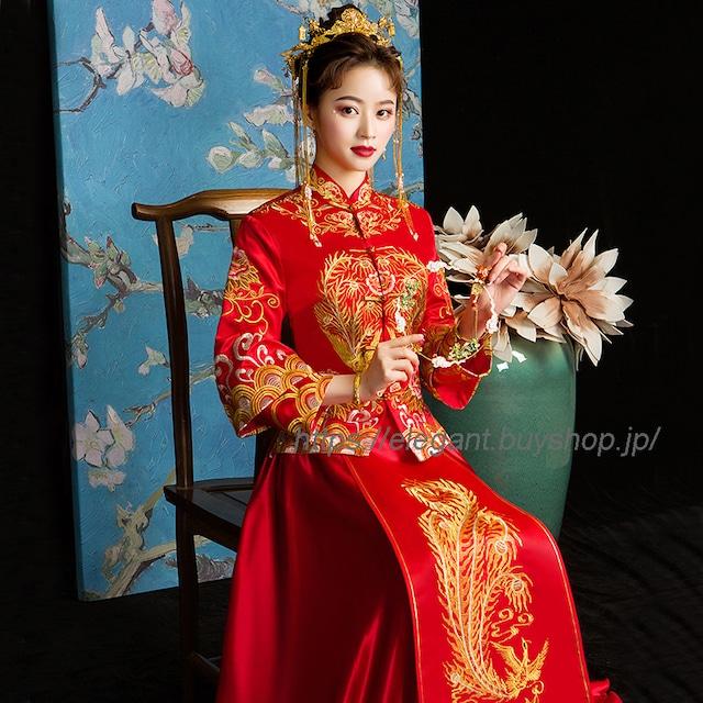 【唐装・漢服・秀禾服】中華服 結婚式ドレス 撮影服 S~3L レッド 赤 サテン 精巧な刺繍入り 激安