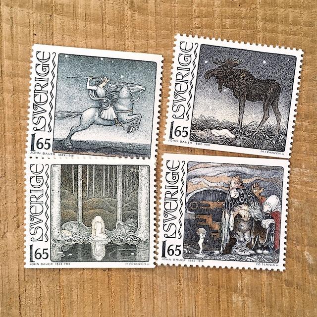 切手(未使用)「ヨン・バウエル生誕100年 - 4種セット(1982)」