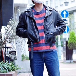 """1960s """"HORSE HIDE"""" Leather Motorcycle Jacket / ヴィンテージ ホースハイド レザー ダブル ライダース"""