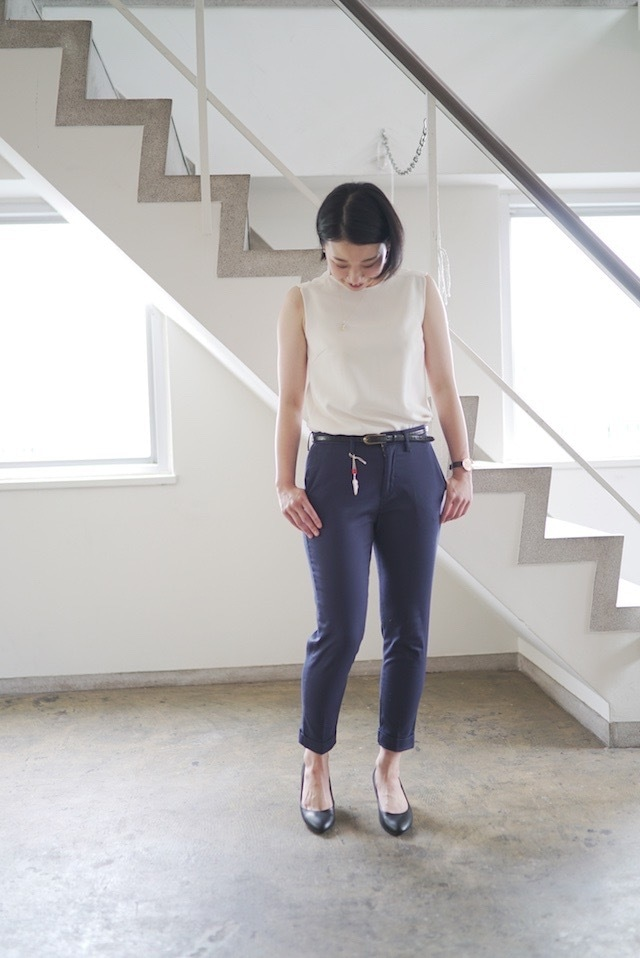 Women [CL002-35)] ネイビーピケトラウザー ( ストレッチピケ素材  )テーパード  ピケパンツ  日本製