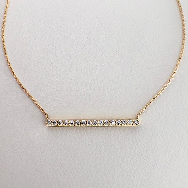ダイヤモンド  バー ペンダントS  0.17ct  プラチナ / K18イエローゴールド / K18ピンクゴールドチェカ 鑑別書付