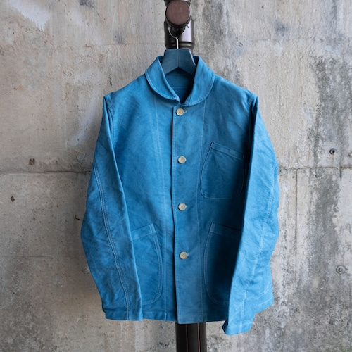 青い藍染のカバーオール