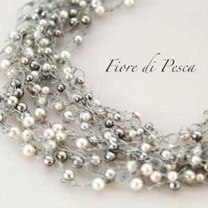 Croshet  Necklace(silver x pearl)