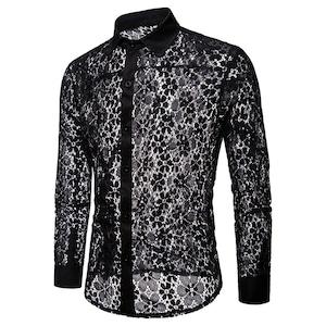 C1605ワイシャツ メンズYシャツ 総レースワイシャツ Yシャツ長袖 ホストシャツ 演出 舞台衣装 ステージ衣装 無地 シースルー セクシー 黒 ブラック ホワイト トップス メンズ