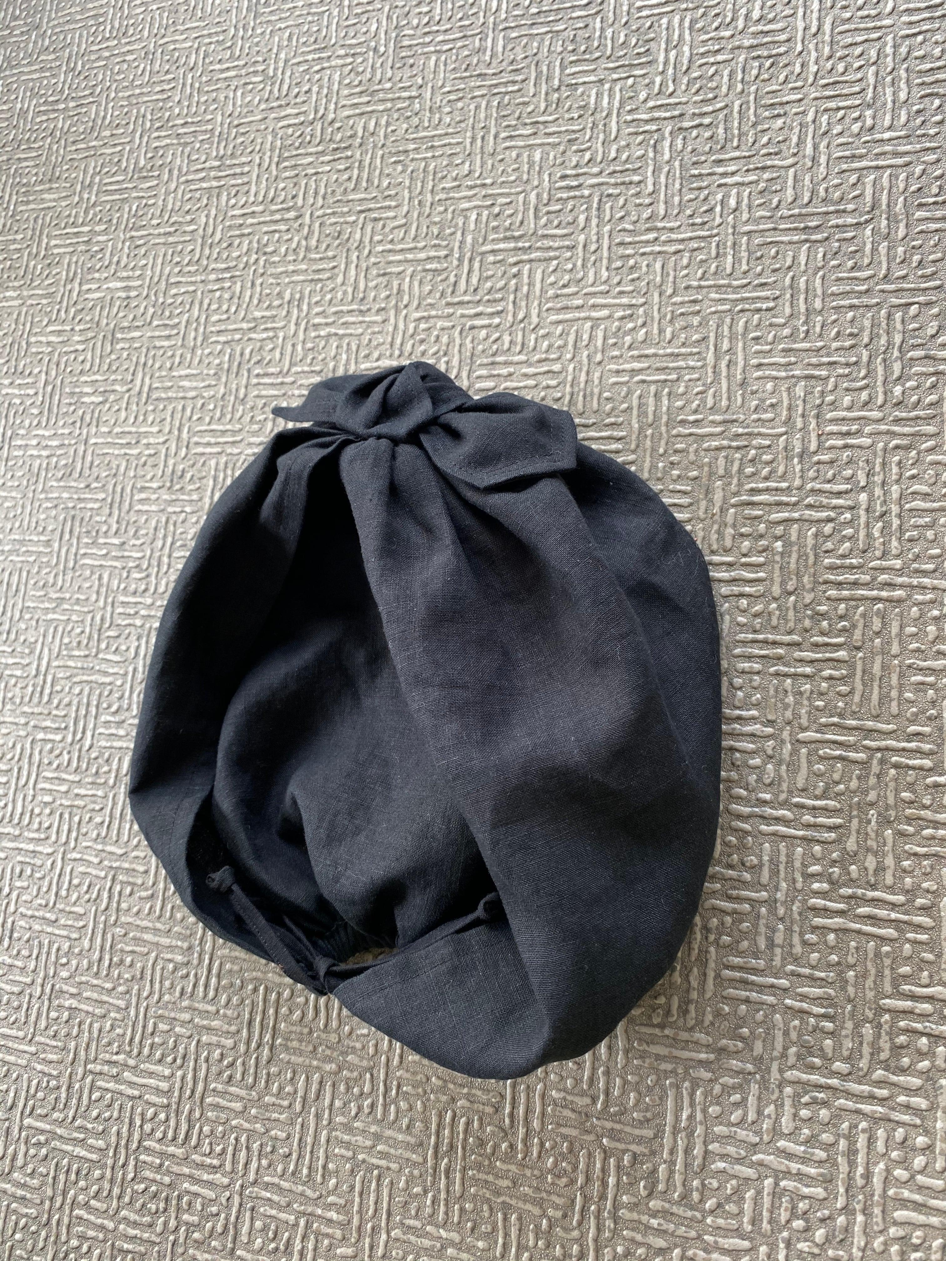 黒リネン ターバン