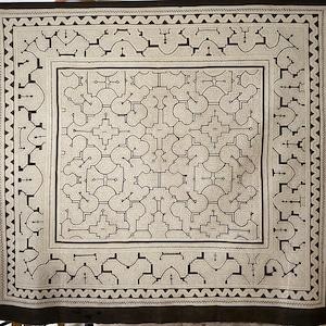 大判 39白 150x138cm AAA アマゾンの泥染め シピボ族 天然染め 飾り模様