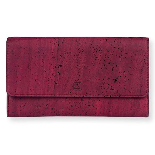VEGAN TRIFOLD WALLET  MAROON / 三つ折り長財布 赤 コルク製
