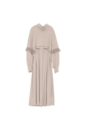 フリンジスリーブニットドレス< light beige >