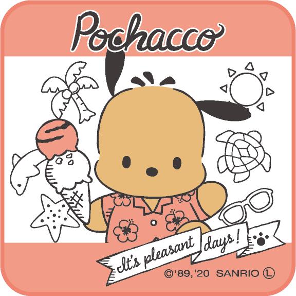 ポチャッコ cafe 限定コラボハンカチタオル(ピンク色)