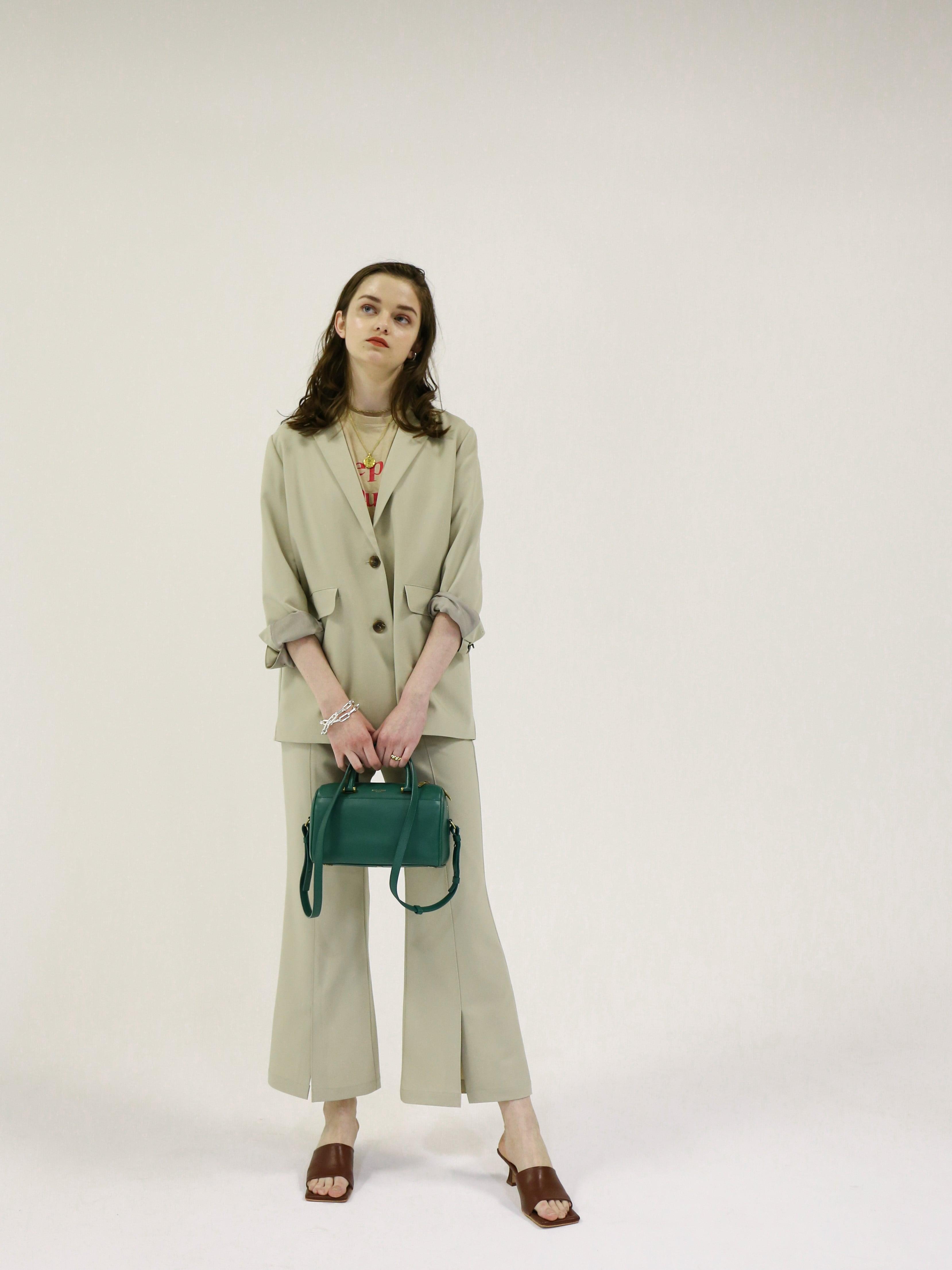 slit flare slacks(beige green)