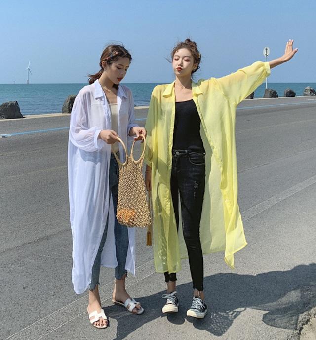 シースルーロングシャツ★透け感・日焼け防止★全4色_2020S/S