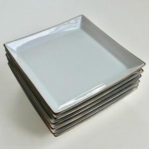 【041】 九谷の白 角皿 大(1枚)/ Kutani White Square Plate / Showa Era  ☆NO.023/028と同一