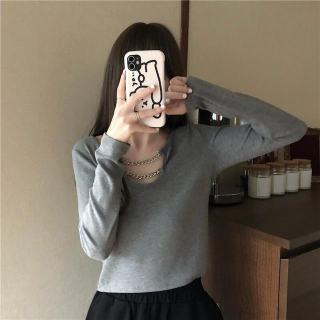 【トップス】長袖ポリエステルカジュアルチェーンTシャツ42897573