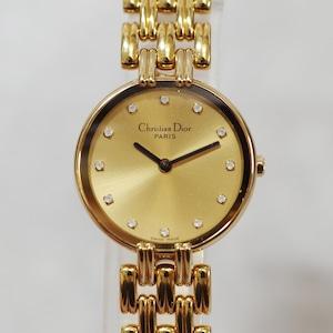 Christian Dior ディオール D44-155 バギラ SS クォーツ ゴールド文字盤 腕時計 レディース