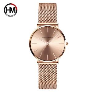 トップブランドの高級HMステンレススチールメッシュ腕時計日本クォーツムーブメントSkローズゴールドデザイナー女性のためのエレガントなスタイルの時計36CC-WFF