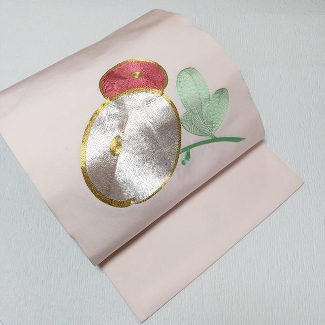 【金駒刺繍】9寸名古屋帯 塩瀬 お太鼓柄 万寿菊  アイシィーピンク