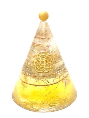 円錐型オルゴナイト【シトリン&天然水晶】トップにゴールデンタイガーアイのポイント付き♫