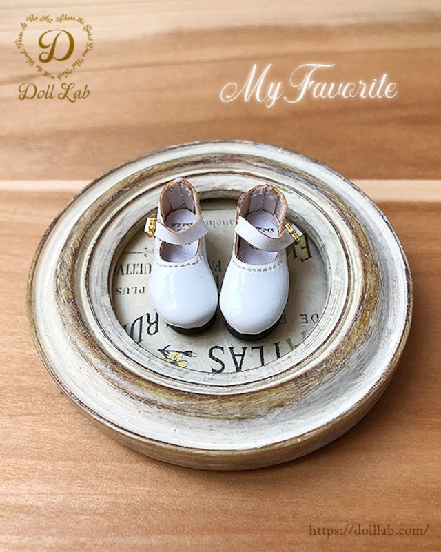 エナメルおでこ靴 ホワイト ドール シューズ ブライス D2006-WHI-30