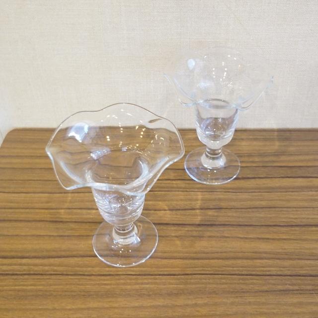 波型のパフェグラス2個セット