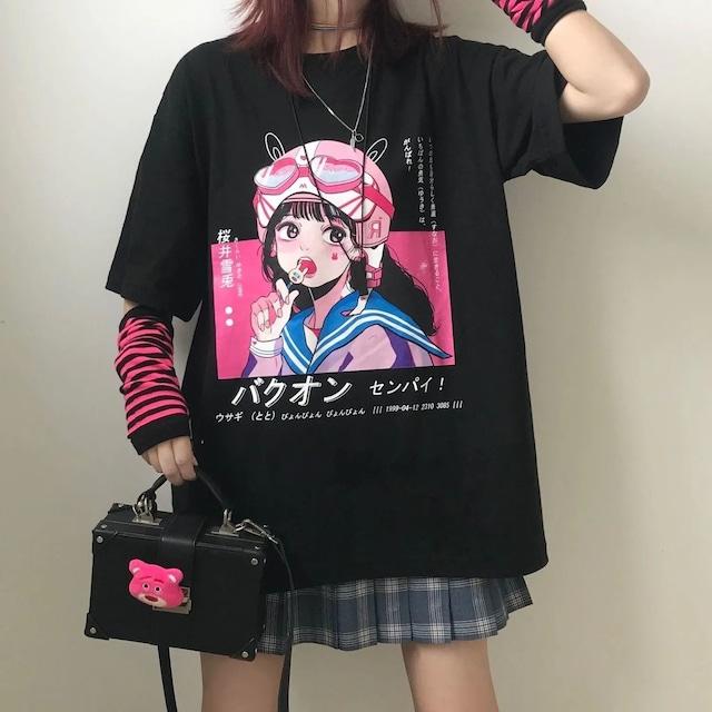 【トップス】アニメ図柄日本語ファッションストリート系半袖Tシャツ