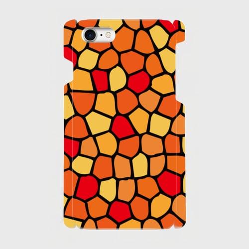 モザイクタイル(赤・黄・橙)/ iPhoneスマホケース(ハードケース)