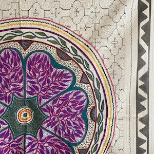 大判刺繍白-05 150cm ピンク・アヤワスカ  アマゾン・シピボ族の泥染め