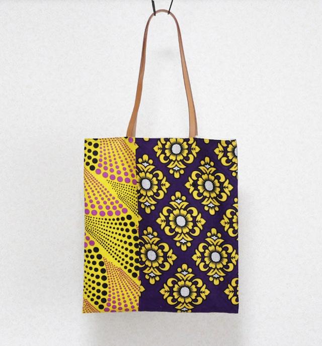 カンガのブロックトート|アフリカ布バッグ / 肩掛けトート