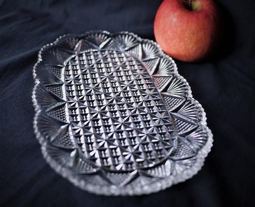 クリスタルカットガラス 楕円皿 レトロ