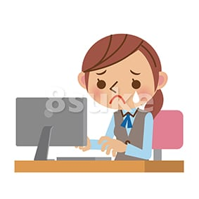 イラスト素材:悲しみながら仕事をするOL・事務職の女性(ベクター・JPG)