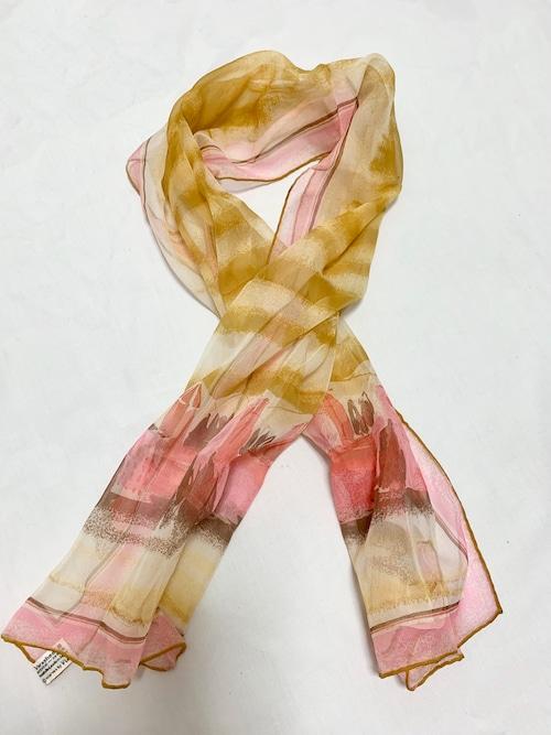 Vintage Vera Chiffon Scarf Pink & Yellow