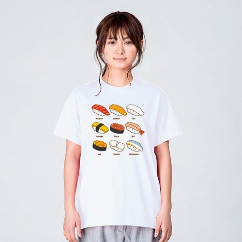 寿司九貫 Tシャツ メンズ レディース 食べ物 おもしろ パロディ ネタ 白 プレゼント 大きいサイズ 綿100% 160 S M L XL