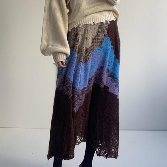 Retro knit middle skirt(レトロニットミドルスカート)b-512