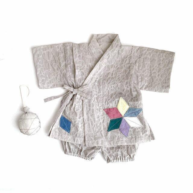 赤ちゃんじんべい パールグレー × 麻の葉