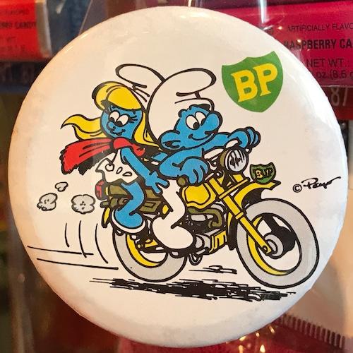 スマーフ 80's BP 企業物 オールド 缶バッジ バイクver.
