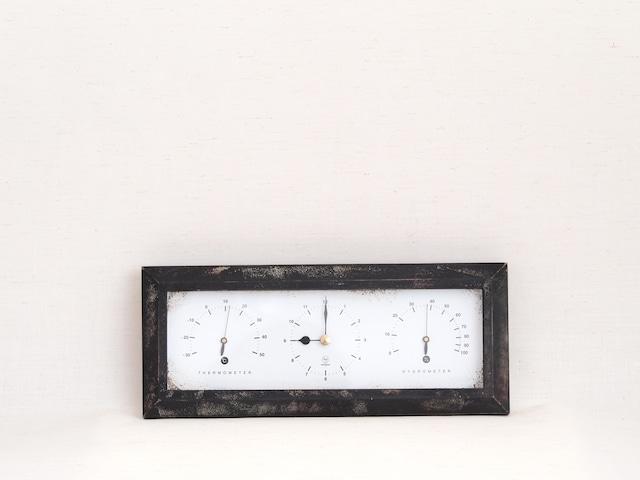 HAKARU ハカル / 温湿度計 時計 Antique Clock アンティーククロック 横型 壁掛け 置き時計 ブラウン YT-901