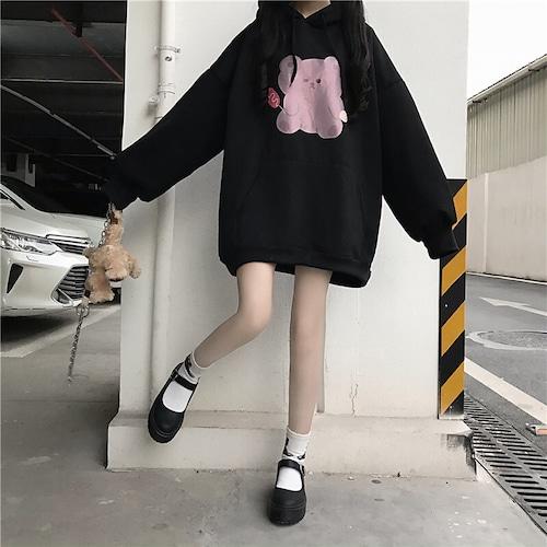くまちゃん パーカー 起毛 韓国ファッション レディース ビッグパーカー オーバーサイズ ボリューム袖 ストリート DTC-607159777868