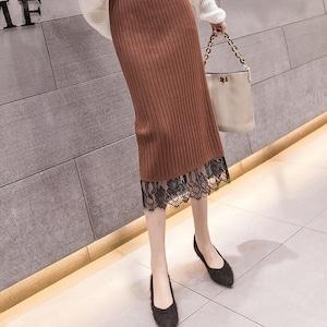 ミモレ丈レースニットスカート