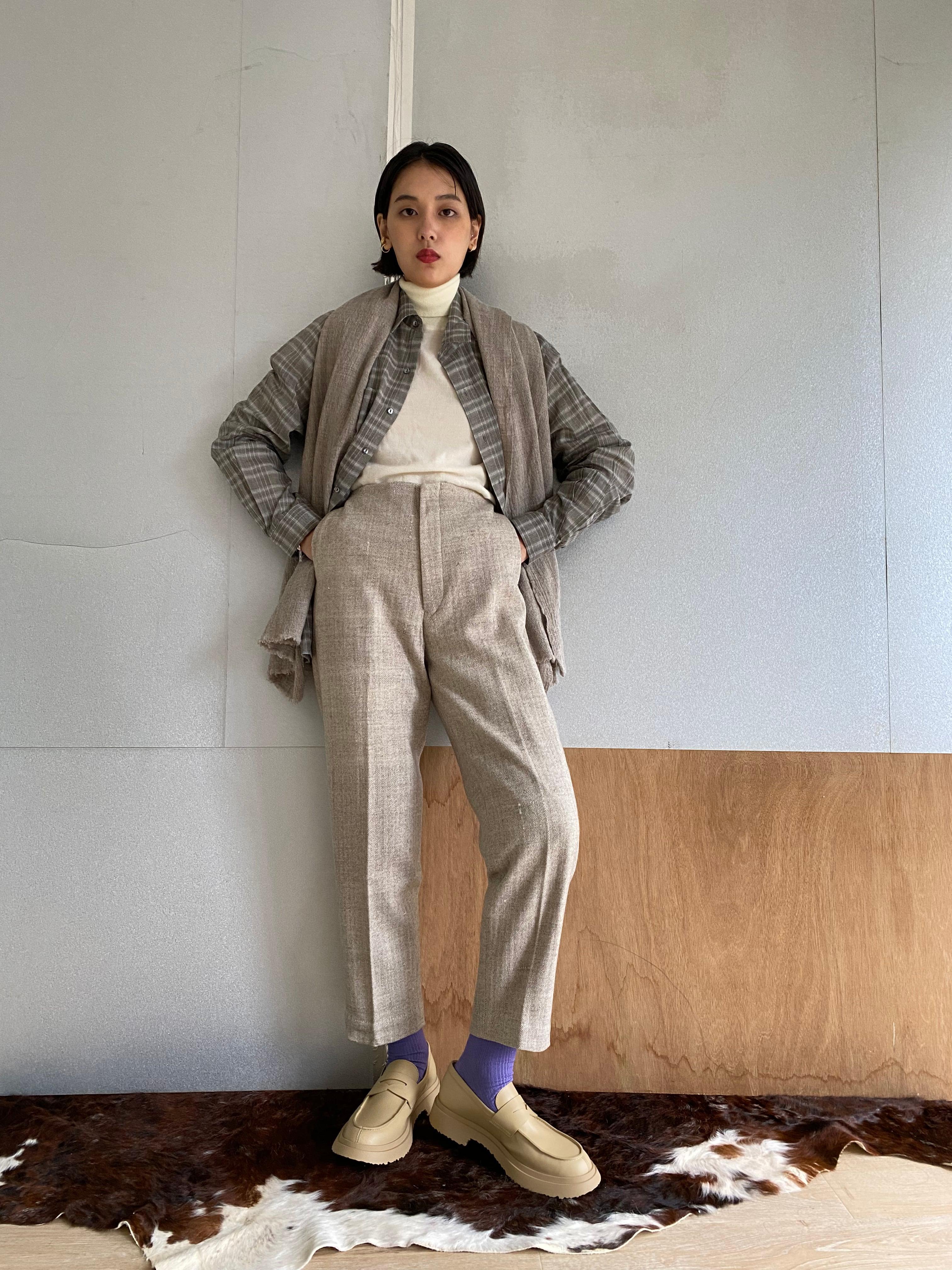 """High waist trousers """"herringbone"""" khadi wool"""