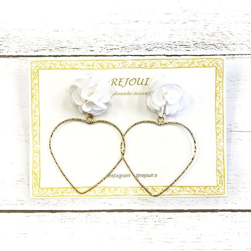 【★REJOUIR】白薔薇とハートのピアス/ピアス