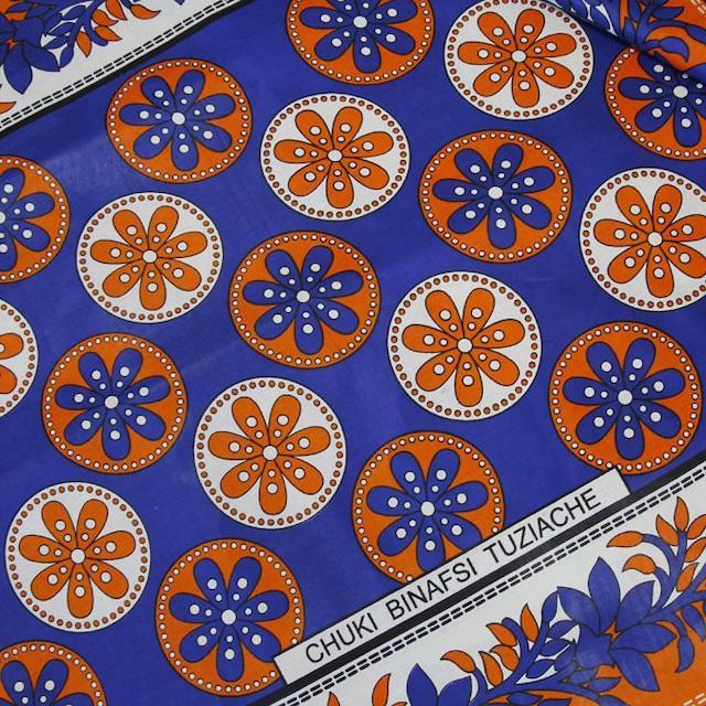 カンガ|オリエンタルブルー × オレンジ  フラワー
