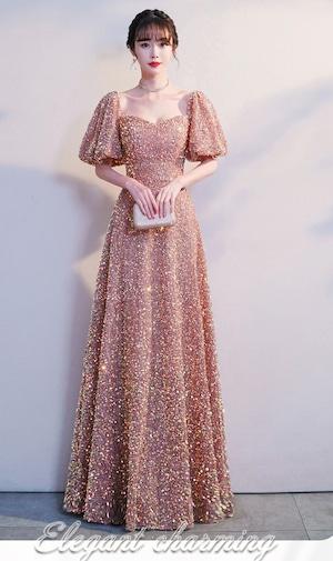 ピンク ロングドレス スパンコール パーティードレス TM0195