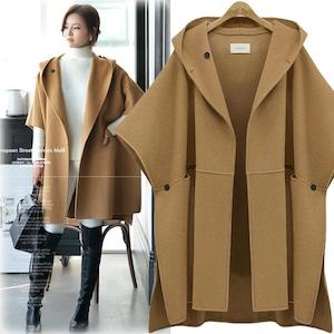 3色あり ドルマン袖コート 無地 レディース アウター 秋冬 ポンチョ マント ジャケット ツイード  大きいサイズ 9661