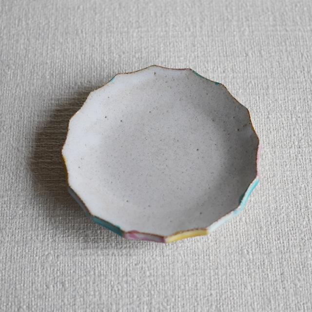 彩色輪花皿 White S