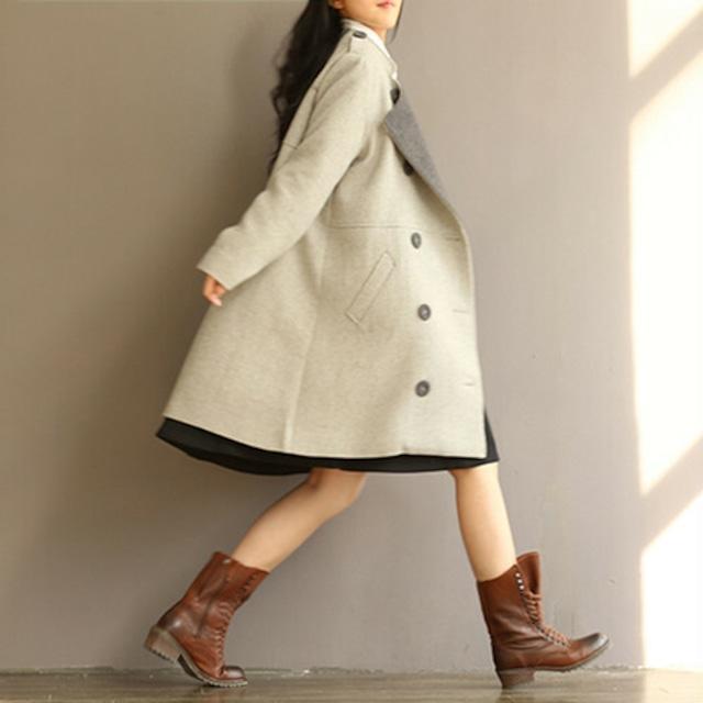 【アウター】ファッションシンプル無地切り替えコート43007841