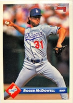 MLBカード 93DONRUSS Roger McDowell #350 DODGERS